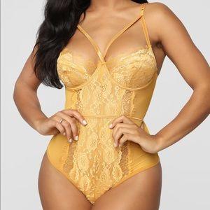 Mustard Lace Teddy - NWT from FashionNova